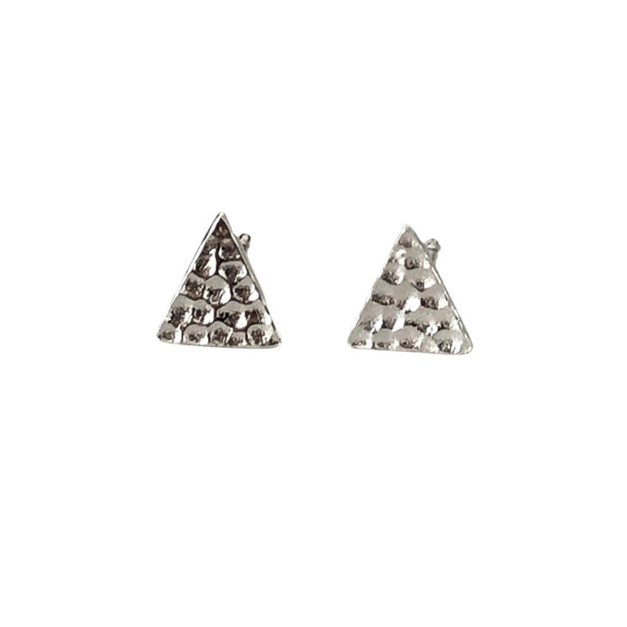 silver textured triangle earrings 1