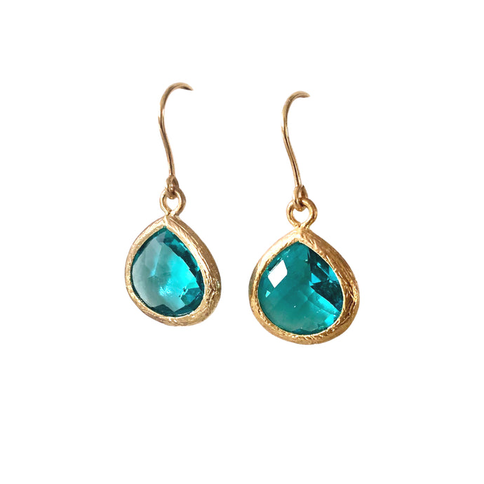 Turquoise gold glass drop earrings