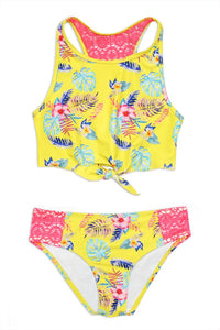 Girl's Yellow Tropical Two Piece