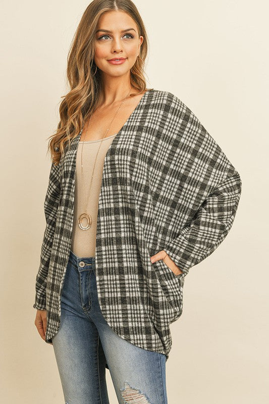 Plaid Round Hem Open Cardigan