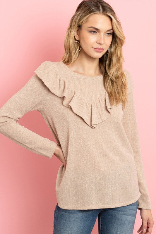 V-shaped Ruffle Detail Long Sleeve Top