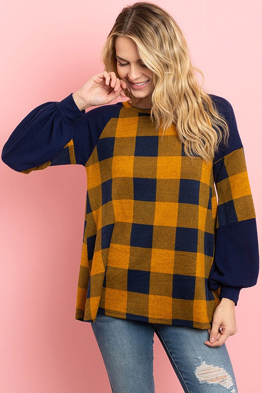 Solid Contrast Puff Sleeves Plaid Top