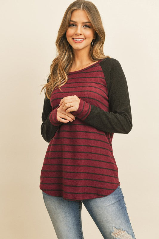 Striped Raglan Top with Brushed Hacci Sleeves