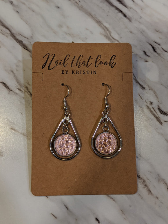 Rose Gold Circle in Dangle Hoops Earrings