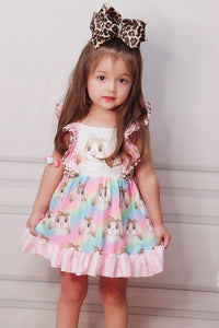 Tie Dye Easter Bunny Printed Dress