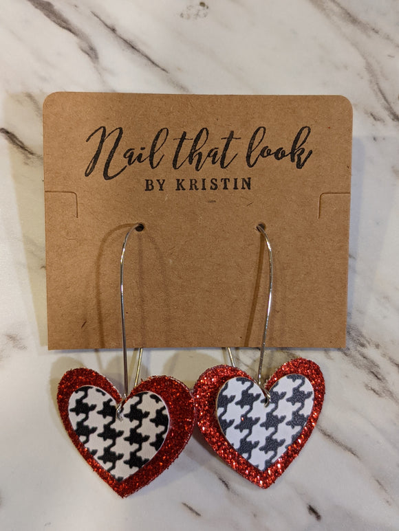 Herringbone and Red Glitter Heart Dangle Earrings