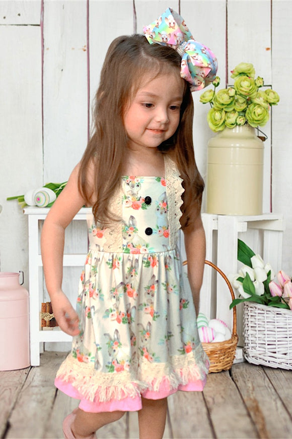 Easter Bunny Printed Dress with Tassel Detail