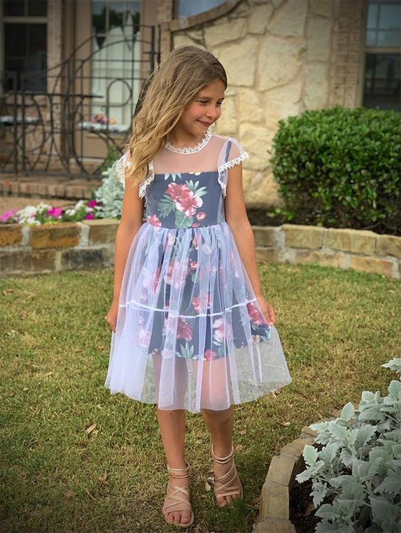 Floral Dress with Tulle