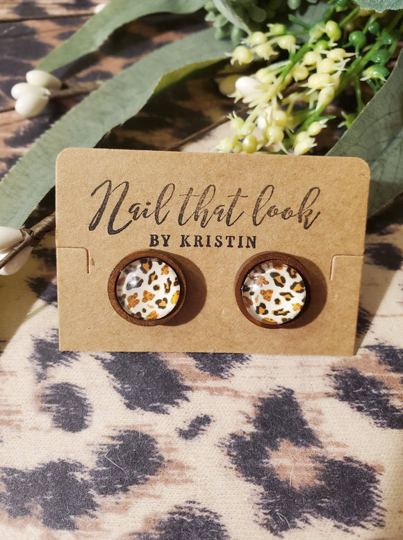 Wood Mounted White Leopard Print Studs