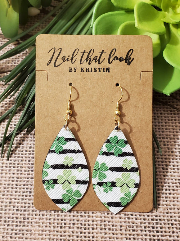 Shamrock Stripes Pointed Tear Drop Earrings