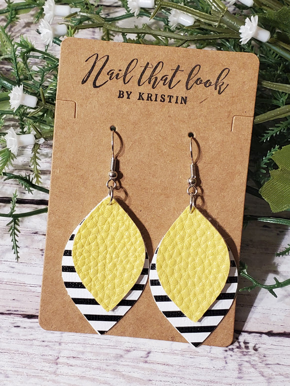 Yellow with Black Stripe 2-layer Earrings