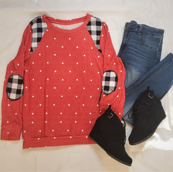 Red Polka Dot and Buffalo Plaid Top