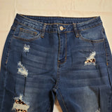 Leopard Print Patch Destroyed Skinny Blue Jeans