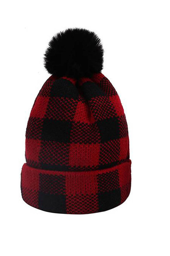 Red Buffalo Plaid Pom Beanie Hat