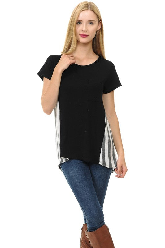 Black Striped Back Tee