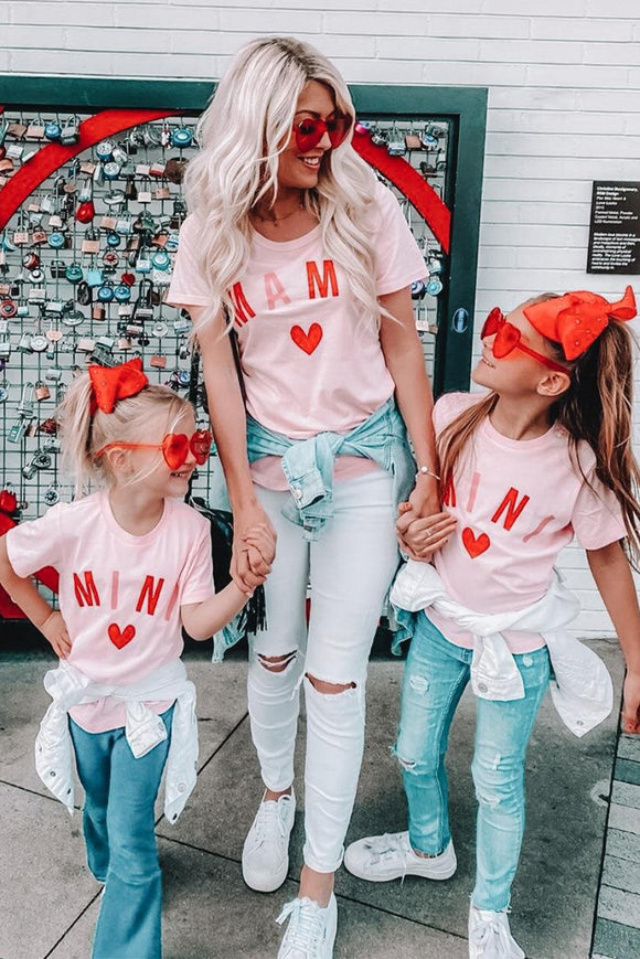 Pink Heart MAMA and MINI Tees