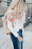 White Floral Striped Print Long Sleeve Top