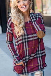 Red Plaid Pocketed Top w/ Elbow Patch