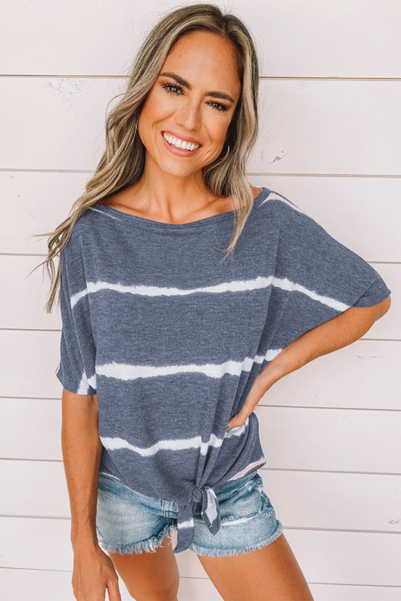Blue Tie-dye Print Loose T-shirt
