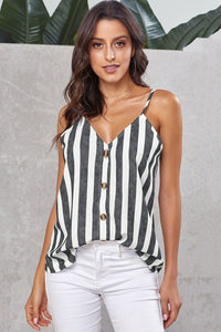 Striped Button Up V Neck Tank