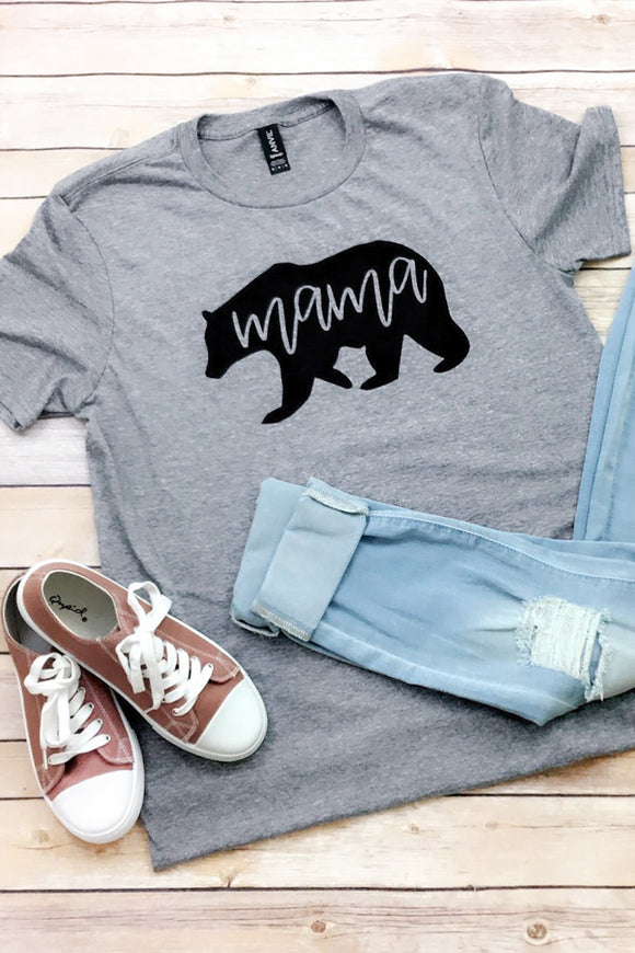 Gray Mama Bear Short Sleeve Tee