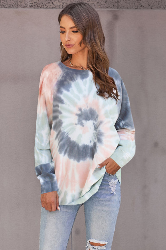 Multicolor Tie Dye Loose Long Sleeve