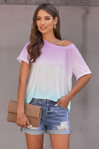 Purple Ombre Off-Shoulder Tee