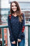 Blue Polka Dot Plaid Sweatshirt
