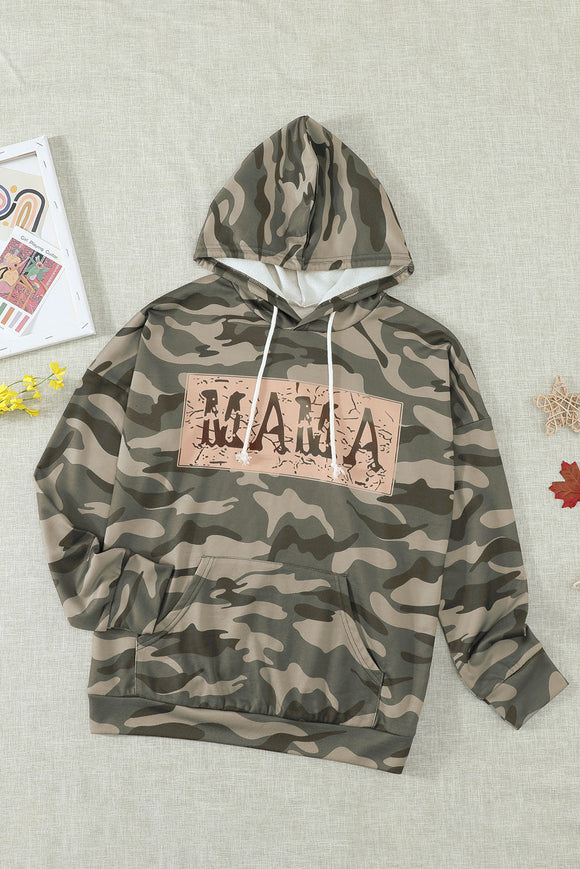 Green Camo Mama Hoodie with Pocket