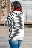 Classic Striped Hoodie with Red Buffalo Plaid