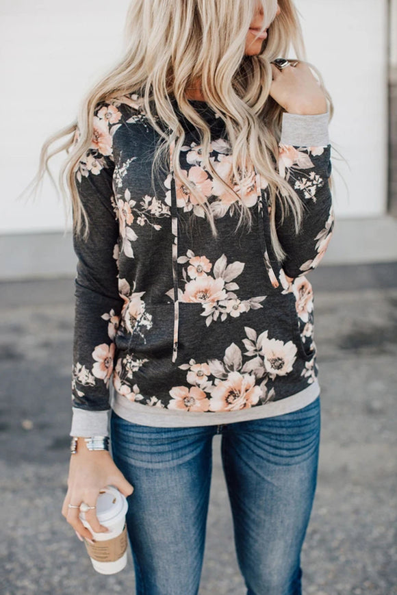 Gray Floral Hoodie with Kangaroo Pocket