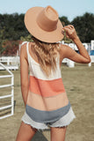 Orange Color block Knit Tank