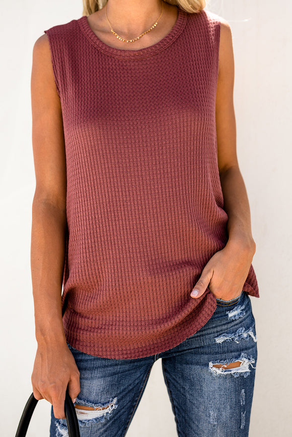 Rust Red Crew Neck Waffle Tank Top