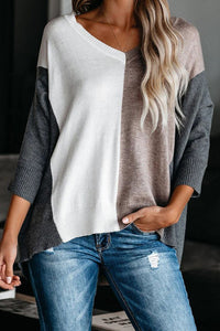 Khaki V-neck Color Block Loose Sweater