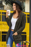Gray Open Front Cardigan with Pockets