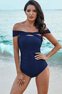 Blue Off Shoulder Swimsuit