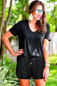 Black Leopard Drawstring Shorts