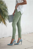 Green Cropped Moto Jeggings