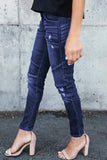 Dark Blue Distressed Moto Skinny Jeans