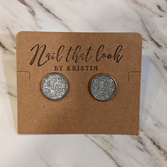 Silver Glitter Stud Earrings