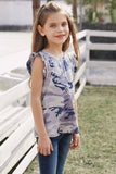 Girl's Gray Camo Ruffle Shoulder Tank