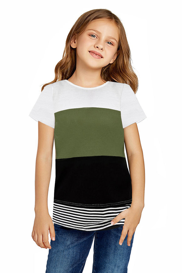 Girl's Green Color Block T-shirt