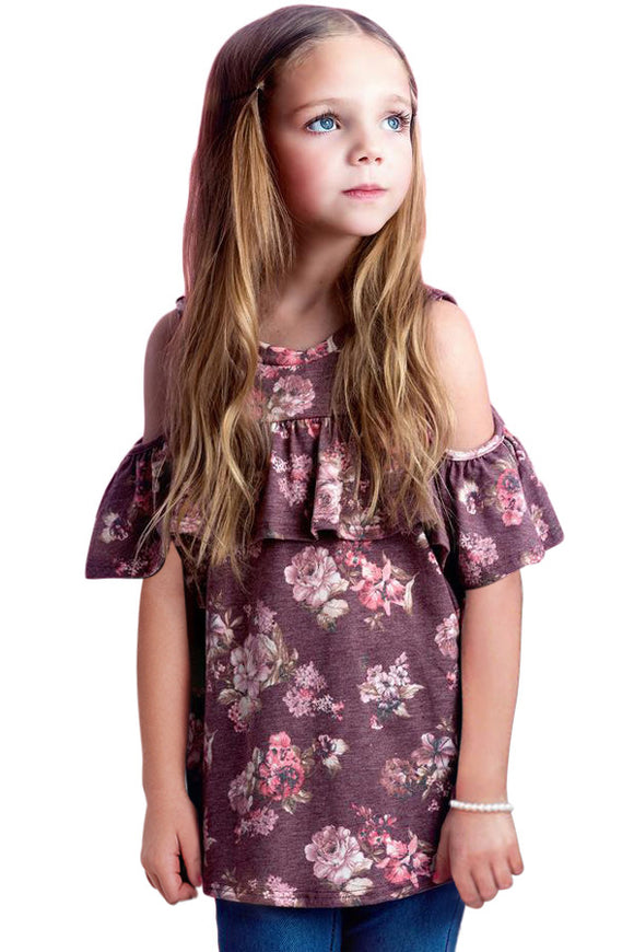 Maroon Cold Shoulder Floral Top
