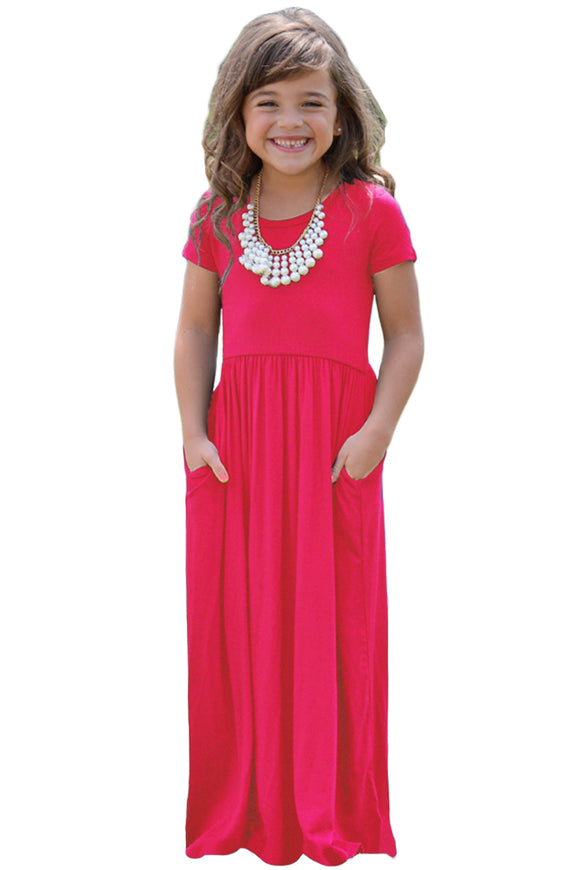 Short Sleeve Girls Maxi Dress