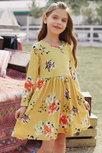 Yellow Floral Swing Dress