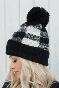 Black and White Buffalo Plaid Beanie with Pom