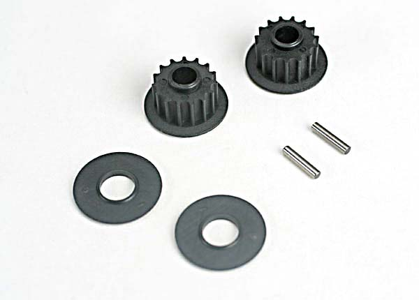 Pulleys, 15-groove (front/ rear) (2)/flanges (2)/ axle pins (2)