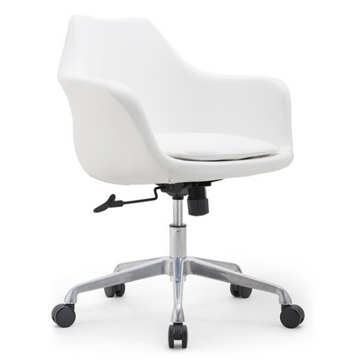 White Vinyl Home Office Swivel Desk Chair HUGO MB