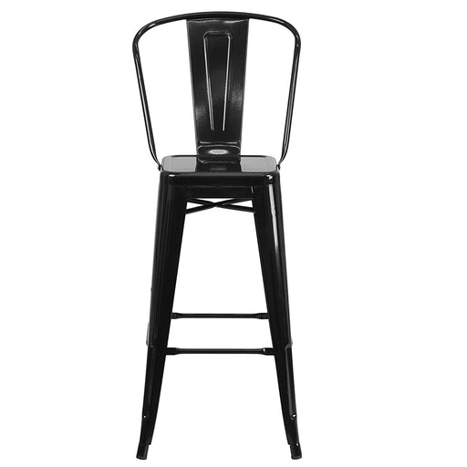 High Back Metal Indoor-Outdoor Barstool with Removable Back DOUGLAS
