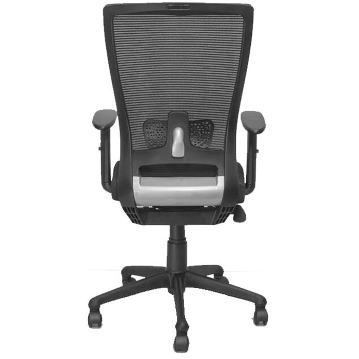 Medium Back Office Chair with Mesh Back Support, Armrest, Cushioned Seat, Height Adjustment Lever, and 360 Movement Swivel Tribute MB (Black)